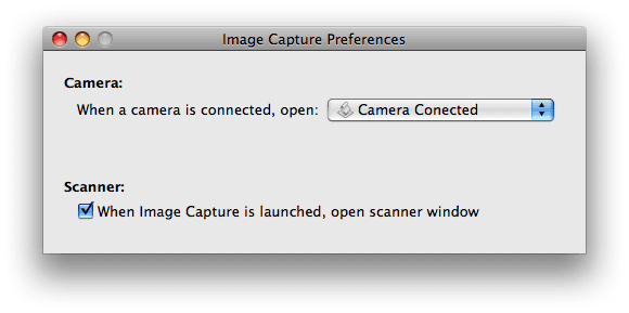 Image Capture Preferences window
